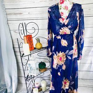 Wrap dress NWT see through blue maxi floral dress
